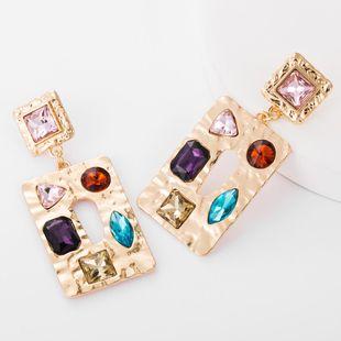 Square alloy diamond glass drill earrings female fashion metal texture bohemian earrings NHJE176151's discount tags