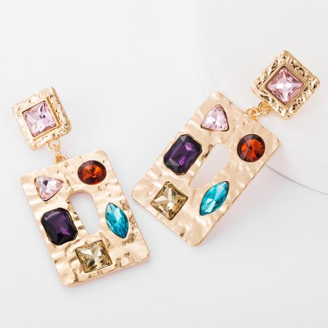 Square alloy diamond glass drill earrings female fashion metal texture bohemian earrings NHJE176151's discount tags
