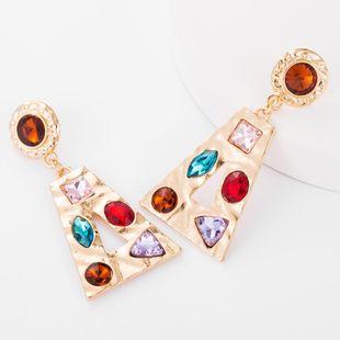 Earrings new trapezoidal alloy hollow glass diamond studded earrings metal sense NHJE176153's discount tags