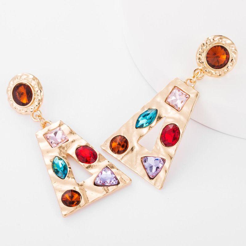 Earrings new trapezoidal alloy hollow glass diamond studded earrings metal sense NHJE176153
