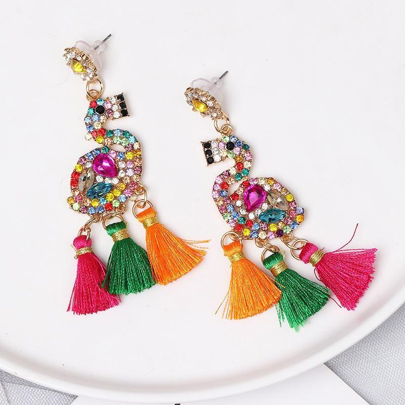 Flamingo earrings tassel long section with diamonds women's earrings female earrings NHJJ176128