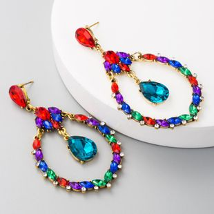 Fashion earrings female exaggerated alloy inlaid rhinestone color earrings ladies super flash earrings NHLN175956's discount tags