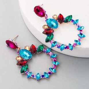 Alloy round rhinestone earrings women's high-end fashion retro earrings long accessories NHLN175957's discount tags