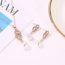 Pearl set temperament diamond drop twopiece necklace earrings jewelry NHDP176213