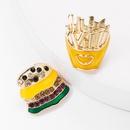 Alloy Drop Oil Rhinestone Studded Burger Fries Asymmetric Earrings Female Fun Stud Earrings NHJE176146