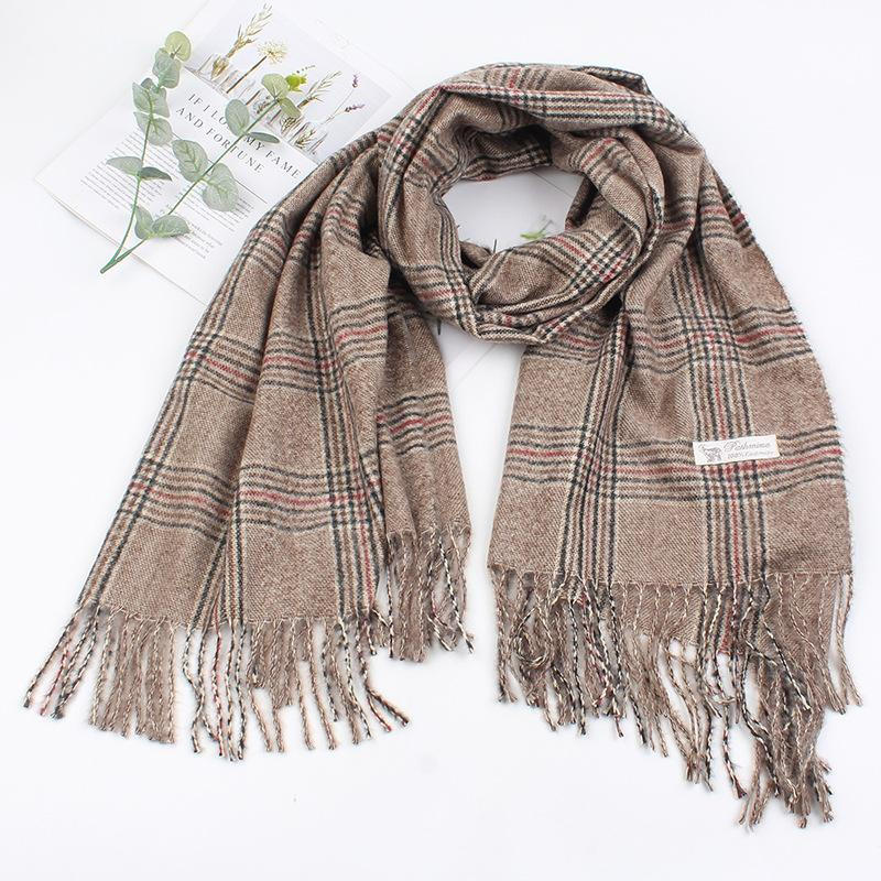 Scarf female imitation cashmere long paragraph simple fringed shawl warm scarf NHXO176347