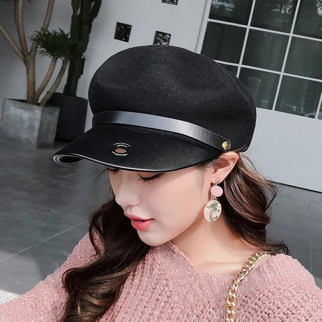 British cute woolen beret octagonal hat female casual cap pumpkin hat NHXO176350's discount tags