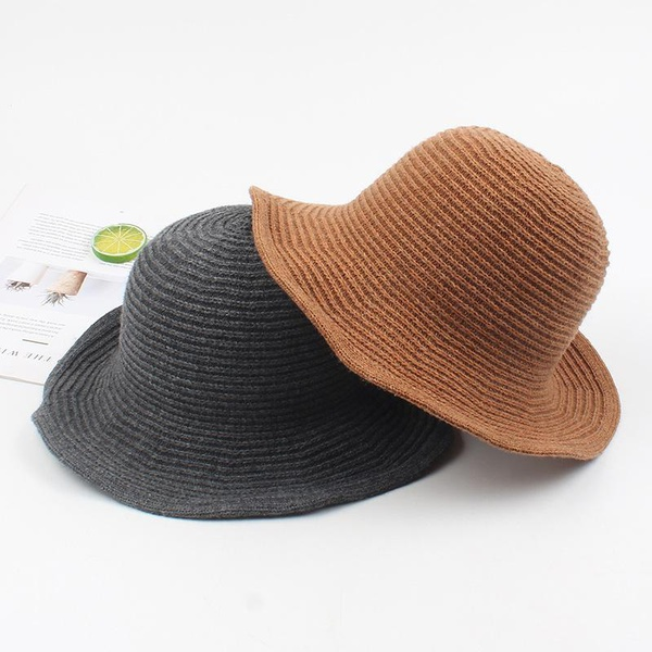 Fisherman hat female foldable small hat black temperament retro knit hat NHXO176352
