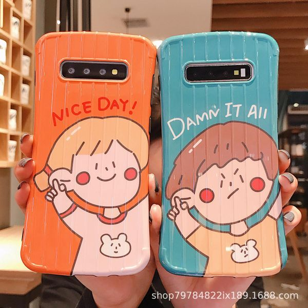 Couple boy girl Samsung s10plus mobile phone shell smooth s8 small waist note8 cute cartoon s9 soft shell NHDV176307