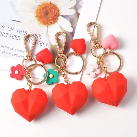 Geometric faceted heart keychain small fresh flower pendant backpack car ornaments NHCB176333's discount tags