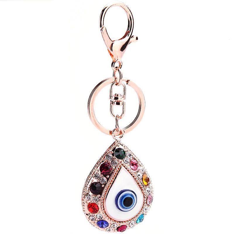 Blue eyes key ring pendant glass pendant rhinestone pendant key chain cartoon NHMM176236