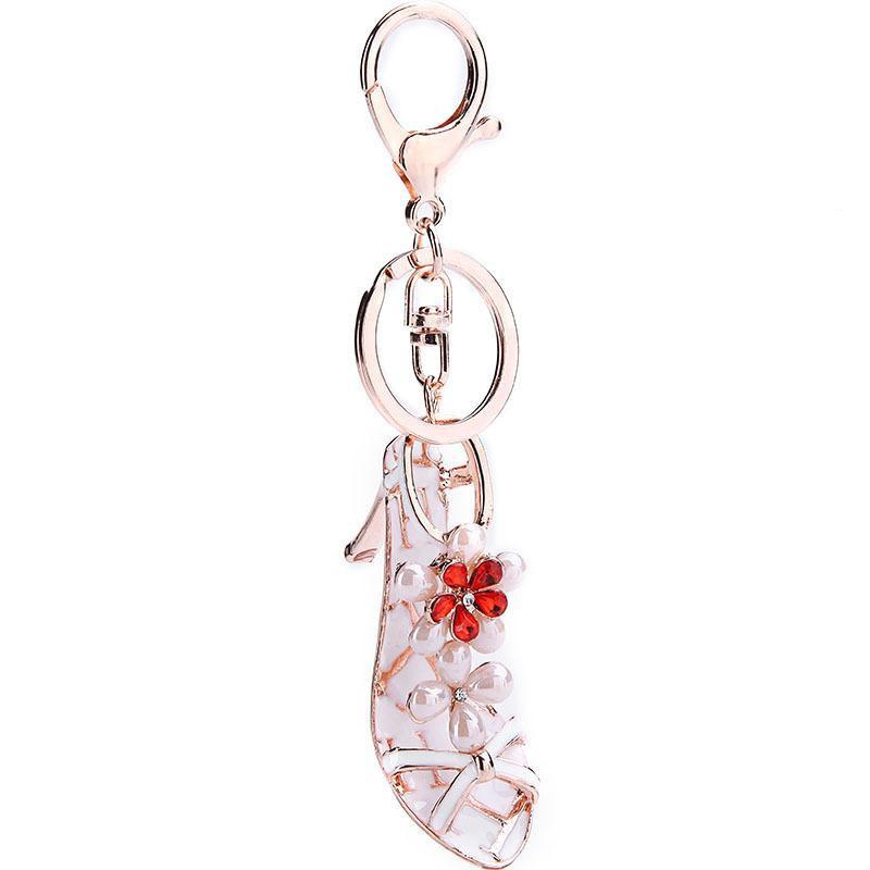 Car Keychain Sexy High Heels Pearl Fashion Rhinestone Keyring NHMM176240