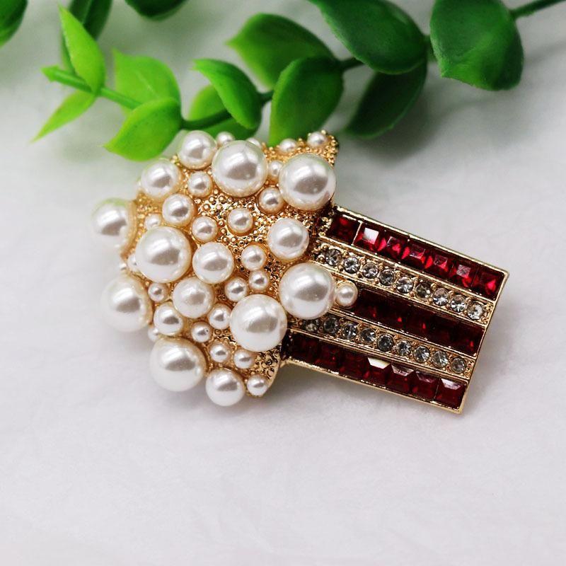 Brooch length drill size pearl brooch popcorn brooch pin silk scarf pin NHOM176503