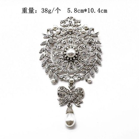 High-end luxury full diamond atmosphere pearl drop brooch coat coat pin heavy work exquisite pin NHOM176508's discount tags