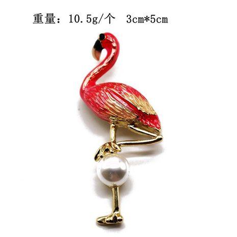 Pink flamingo brooch high-grade Sen brooch female simple student brooch NHOM176513's discount tags