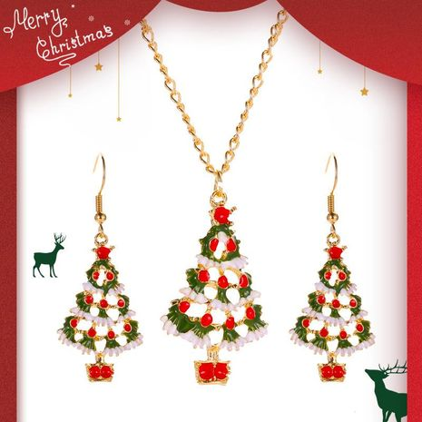Christmas Color Cartoon Jewelry Cute Drops Oil Christmas Tree Earrings Necklace Set NHDP176399's discount tags