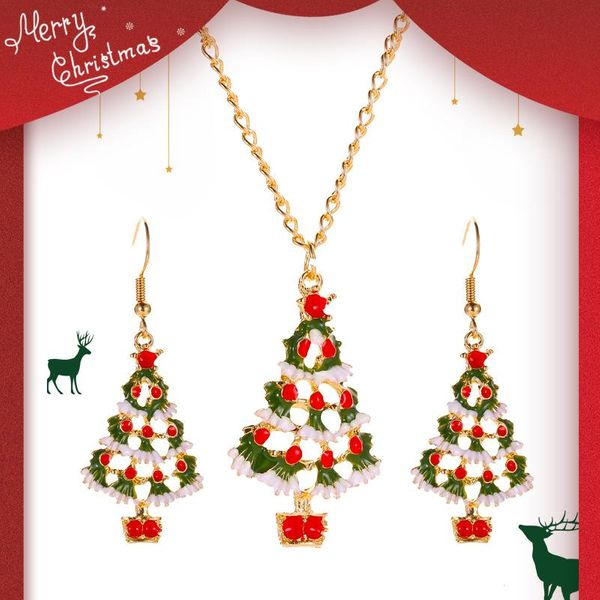 Christmas Color Cartoon Jewelry Cute Drops Oil Christmas Tree Earrings Necklace Set NHDP176399