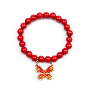 Miyuki Female Bracelet Red Butterfly Butterfly Fashion Semi-Gemstone Jewelry NHGW176433's discount tags