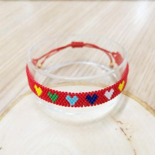 New Miyuki Simple Bracelet DB Antique Rice Beads Weave Red Love Pattern Ornaments NHGW176446's discount tags