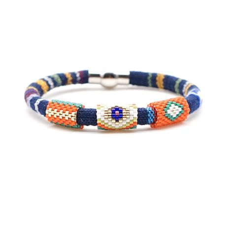 Simple and stylish miyuki rice beads cloth rope bracelet stainless steel hand-woven jewelry NHGW176457's discount tags