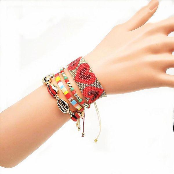 TILA Miyuki rice beads braided women's bracelet set jewelry NHGW176460