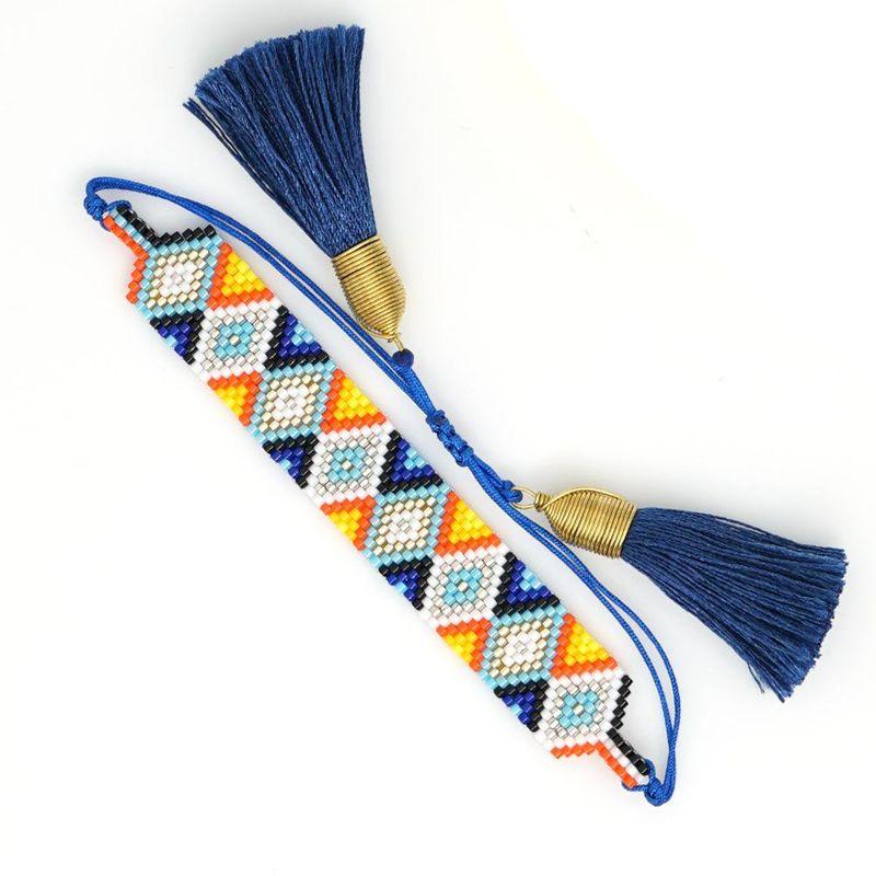 New simple fashion geometric pattern couple jewelry Miyuki rice beads braided ladies bracelet NHGW176468