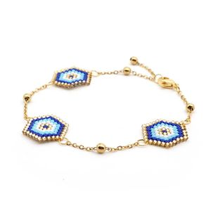 Miyuki woven blue Turkish eyes ladies bracelet chain jewelry stainless steel gold plated color NHGW176473's discount tags