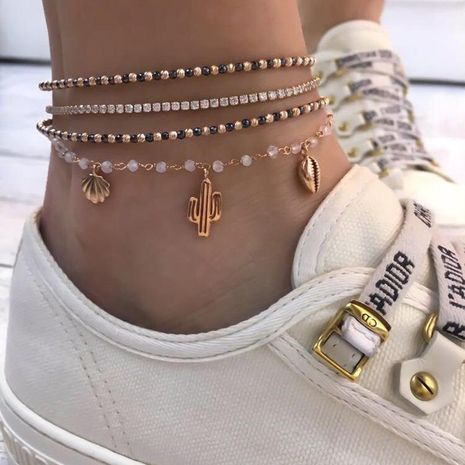 New jewelry cactus shell with diamond anklet rice beads multi-layer women's anklet 4 sets NHGY176548's discount tags