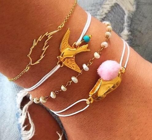 Fashion alloy bird peanuts anklet pearl leaves hollow anklet 5 piece set NHGY176549's discount tags