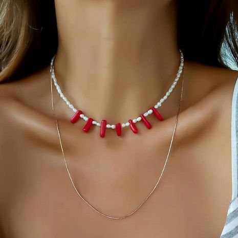 New accessories rice beads red strips acrylic irregular necklace female NHGY176545's discount tags