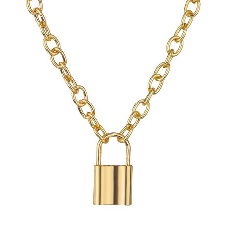 Fashion alloy lock pendant necklace punk wind explosion necklace NHBQ176413's discount tags
