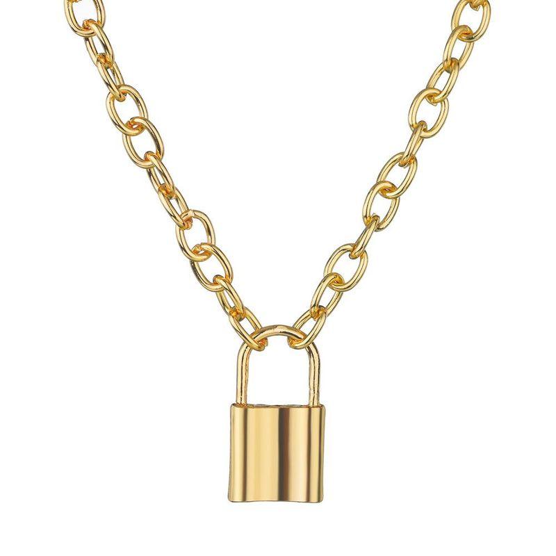 Fashion alloy lock pendant necklace punk wind explosion necklace NHBQ176413