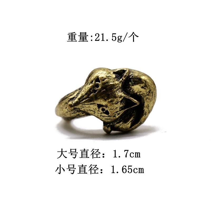 Retro Fox Head Rings Exaggerated Animal Abstract Ring Alloy Ring NHOM176498