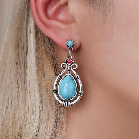 Earrings female dripping geometric turquoise earrings temperament gemstone earrings NHDP176383's discount tags