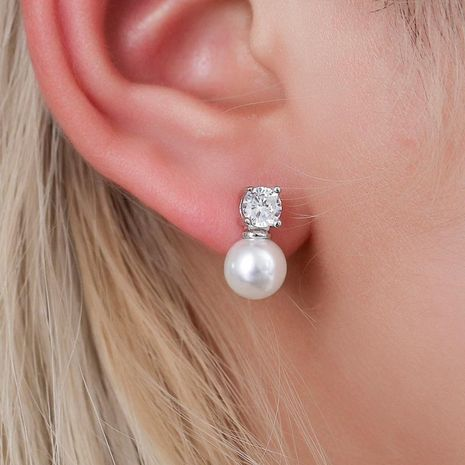 Pearl zircon earrings temperament ladies earrings hot ear accessories NHDP176391's discount tags