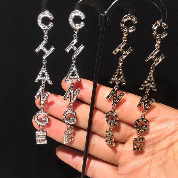 S925 silver pin letter earrings CHA tassel long earrings round face NHWK176095