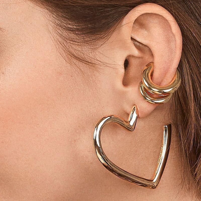 New fashion geometric love alloy earrings C-shaped ear bone clip suit women NHBQ176415