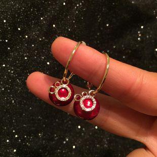 S925 Silver Cartoon Mickey Mouse Head Circle Pearl Earrings Cute New Year Star Earrings NHWK176096's discount tags