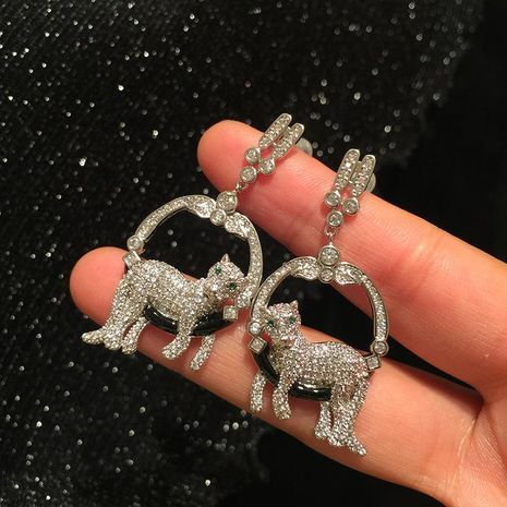 S925 silver needle cute creative cartoon cat circle ring earrings luxury micro-inlaid zircon super flash atmosphere elegant earrings NHWK176097's discount tags
