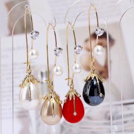 Fashion luxury creative water drop earrings long tassel NHWK176111's discount tags