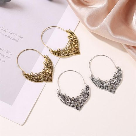 Fashion earrings antique carved love hollow earrings female retro pattern earrings NHDP176400's discount tags