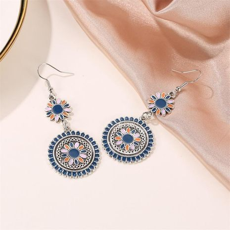 Earrings color drop oil long paragraph small daisy vintage earrings carved metal flower totem NHDP176402's discount tags