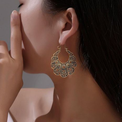 Earrings female retro carved hollow flowers geometric earrings temperament antique pattern earrings earrings NHDP176404's discount tags