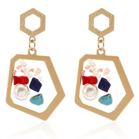 Jewelry fashion transparent resin inlaid pearl color stone earrings personality geometric irregular earrings NHPF176416's discount tags