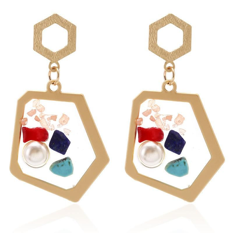 Jewelry fashion transparent resin inlaid pearl color stone earrings personality geometric irregular earrings NHPF176416