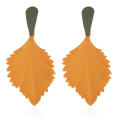 Earrings exaggerated creative alloy spray paint leaves earrings personality retro simple leaf earrings NHPF176418's discount tags