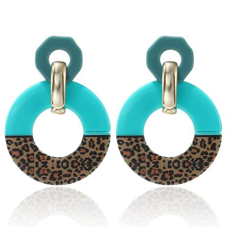 Earrings personality fashion creative color acrylic leopard color matching circle acetate plate earrings earrings NHPF176421's discount tags