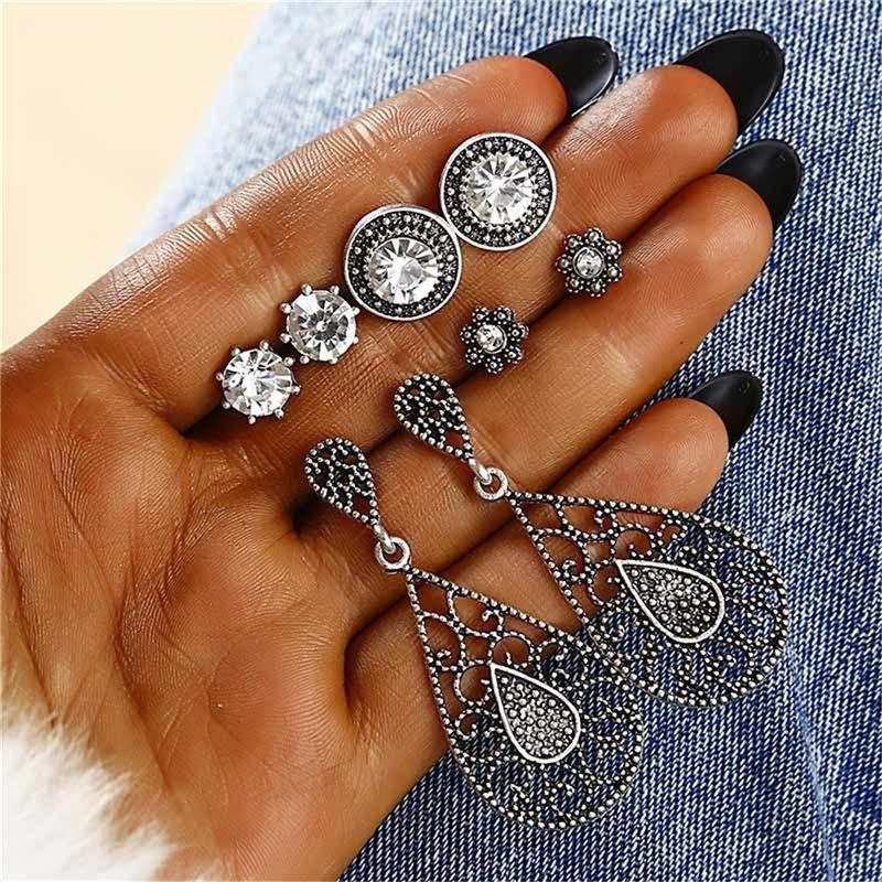 Stud Earrings Fashion 4 Pairs Jewelry Dazzling Crystal Bohemian Earrings NHPF176424