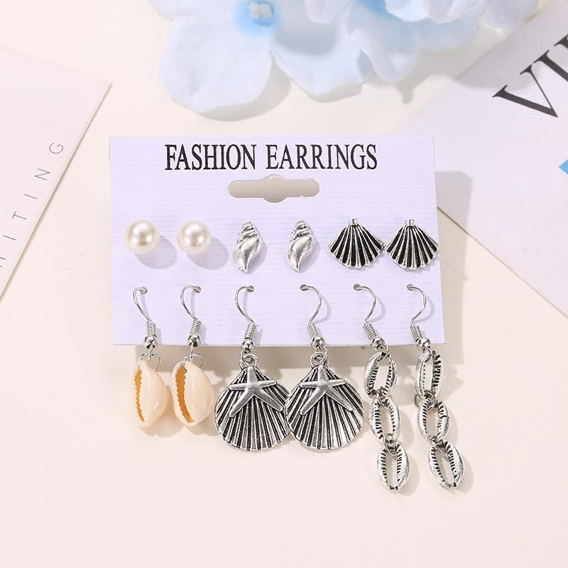 Earrings Summer Ocean Wind Shell Set Earrings 6 Pairs Pearl Conch Stud Earrings NHDP176407