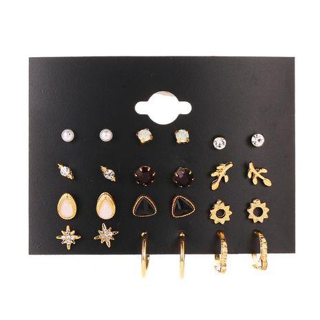 Fashion Explosion Set Stud Earrings Simple 12 Piece Stud Earrings Flower Set Earrings NHDP176406's discount tags